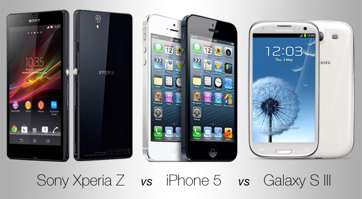 Sony Xperia Z vs Samsung Galaxy S3 vs Apple iPhone 5