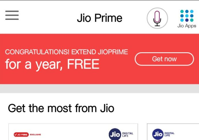 Reliance Jio Prime Membership Extended for Free